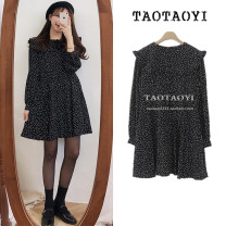Dress Autumn 2020 black S,M,L,XL Middle-skirt singleton  Long sleeves commute Crew neck High waist Dot zipper A-line skirt shirt sleeve Others 18-24 years old Type A Other / other Korean version Lace, lace, stitching, bandage, wave, zipper