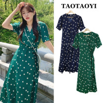 Dress Summer 2020 Green, Navy S,M,L,XL longuette singleton  Short sleeve commute V-neck High waist Broken flowers A button A-line skirt puff sleeve Breast wrapping 18-24 years old Type A Korean version Bowknot, lace up, stitching, asymmetry, strap, button, print 71% (inclusive) - 80% (inclusive)