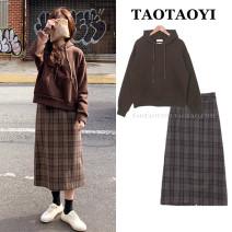 skirt Winter 2020 S,M,L,XL Coffee skirt, dark blue skirt, coffee sweater Mid length dress commute High waist A-line skirt lattice Type A 18-24 years old 51% (inclusive) - 70% (inclusive) Wool Pocket, zipper Korean version