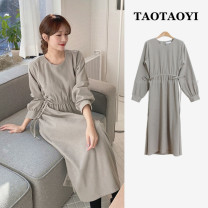 Dress Spring 2021 grey S,M,L,XL Mid length dress singleton  Long sleeves commute Crew neck Elastic waist Solid color A button A-line skirt puff sleeve Others 18-24 years old Type A Korean version Pleats, lace UPS, stitches, straps, buttons 71% (inclusive) - 80% (inclusive) cotton