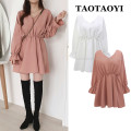 Dress Autumn 2020 White, lotus root pink S,M,L,XL Middle-skirt singleton  Long sleeves Sweet V-neck High waist Solid color zipper A-line skirt pagoda sleeve Others 18-24 years old Type A Ruffles, pleats, stitching polyester fiber solar system