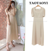 Dress Summer 2021 Picture color S,M,L,XL Mid length dress singleton  Short sleeve commute square neck High waist Solid color zipper Pleated skirt puff sleeve Others 25-29 years old Type A Korean version Bowknot, fold, lace, splice, strap, zipper 71% (inclusive) - 80% (inclusive) other other