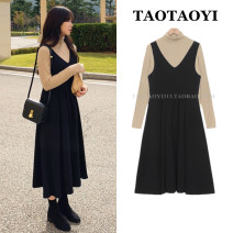 Dress Winter 2020 S,M,L,XL Mid length dress Two piece set Sleeveless commute V-neck High waist Solid color zipper A-line skirt other straps 18-24 years old Type A Korean version Pleated, stitched, strap, zipper 71% (inclusive) - 80% (inclusive) Crepe de Chine