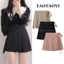 skirt Summer 2021 S,M,L,XL Pink, black, khaki Short skirt commute High waist Pleated skirt Solid color Type A 18-24 years old 51% (inclusive) - 70% (inclusive) cotton Bowknot, fold, lace, strap, button, stitching Korean version