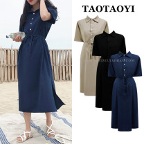 Dress Summer 2020 Blue, black S,M,L,XL Mid length dress singleton  Short sleeve commute Polo collar Loose waist Solid color Single breasted other routine Others 18-24 years old Type H Other / other literature Bow, tie, tie, button 51% (inclusive) - 70% (inclusive) cotton