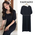 Dress Summer 2021 black S,M,L,XL longuette singleton  Short sleeve commute square neck High waist Solid color zipper One pace skirt puff sleeve Others 18-24 years old Type A Korean version zipper 81% (inclusive) - 90% (inclusive)