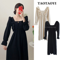 Dress Winter 2020 Apricot, black S,M,L,XL Mid length dress singleton  Long sleeves commute square neck High waist Solid color Socket A-line skirt pagoda sleeve Others 25-29 years old Type A Retro Lotus leaf, open back, Auricularia auricula, splicing, wave polyester fiber