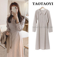 Dress Autumn 2020 Picture color S,M,L,XL Mid length dress singleton  Long sleeves commute Doll Collar High waist lattice zipper A-line skirt shirt sleeve Others 18-24 years old Type A Korean version Bowknot, lace up, stitching, bandage, button, zipper 51% (inclusive) - 70% (inclusive) cotton