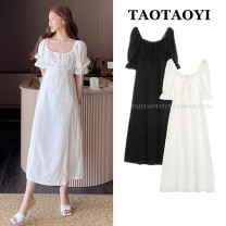Dress Summer 2021 White, black S,M,L,XL Mid length dress singleton  Short sleeve commute One word collar High waist Solid color zipper A-line skirt pagoda sleeve Others 25-29 years old Type A Other / other Korean version Bowknot, tuck, fold, tie, splice, strap, zipper hemp