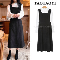 Dress Winter 2020 White shirt, black strap skirt S,M,L,XL Mid length dress Two piece set Long sleeves commute square neck High waist Solid color zipper A-line skirt straps 18-24 years old Type A Korean version Open back, strap, zipper, stitching corduroy cotton