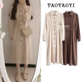 Dress Autumn 2020 Beige, brown S,M,L,XL Mid length dress singleton  Long sleeves commute Polo collar High waist Solid color Single breasted A-line skirt shirt sleeve 18-24 years old Type A Other / other Korean version Pleats, stitches, buttons 51% (inclusive) - 70% (inclusive) cotton