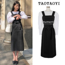 Fashion suit Autumn 2020 S,M,L,XL Black strap skirt, white shirt 18-25 years old Other / other 51% (inclusive) - 70% (inclusive) cotton