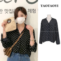 shirt black S,M,L,XL Spring 2021 polyester fiber 96% and above Long sleeves commute Regular Half open collar Single row multi button shirt sleeve Dot 18-24 years old Straight cylinder Korean version Button