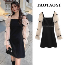 Dress Summer 2021 black S,M,L Short skirt Fake two pieces Long sleeves commute square neck High waist Solid color zipper A-line skirt puff sleeve camisole 18-24 years old Type A Korean version 51% (inclusive) - 70% (inclusive) nylon