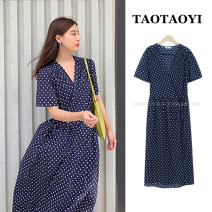 Dress Summer 2021 blue S,M,L,XL longuette singleton  Short sleeve commute V-neck Elastic waist Dot other Big swing routine Others 18-24 years old Type A Korean version Bowknot, lace, stitching, bandage 51% (inclusive) - 70% (inclusive) polyester fiber