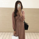 Dress Autumn of 2018 Picture color S,M,L,XL Mid length dress singleton  Long sleeves commute V-neck High waist Decor zipper Big swing puff sleeve Others 18-24 years old Type A Other / other Korean version 31% (inclusive) - 50% (inclusive) Chiffon
