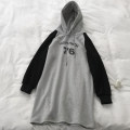 Sweater / sweater Autumn of 2019 grey One size plush, one size Terry Long sleeves Medium length Socket singleton  Hood easy commute raglan sleeve letter 18-24 years old 96% and above Korean version cotton cotton Cotton liner