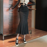 skirt Autumn 2020 S,L,M dark grey longuette commute High waist 18-24 years old Korean version