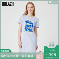 Dress Summer 2020 Royal Blue 155/80A 160/84A 165/88A 170/92A Mid length dress singleton  Short sleeve commute Crew neck High waist Hand painted Socket other routine Others 25-29 years old Urlazh / Youlan Simplicity LI2DR71 51% (inclusive) - 70% (inclusive) cotton Cotton 69.4% polyester 30.6%