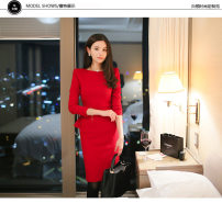 Dress Autumn 2020 gules S,M,L,XL,2XL Middle-skirt singleton  Long sleeves commute Crew neck High waist Solid color Socket One pace skirt routine Type X Dongzhou Yali Ol style Ruffles, stitching More than 95% polyester fiber