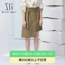 skirt Summer 2021 32/150/XS 34/155/S 36/160/M 38/165/L 40/170/XL Light coffee Middle-skirt Retro High waist A-line skirt Solid color Type A 30-34 years old XG203009A363 71% (inclusive) - 80% (inclusive) other XG / snow song polyester fiber Asymmetry Polyester 79.3% viscose 20.7%