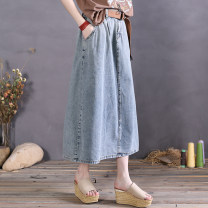 skirt Spring 2021 Average size Blue, carbon grey, carbon grey 2, carbon grey 3, blue 3, denim Black 5 Mid length dress commute High waist A-line skirt Solid color Type A More than 95% cotton Open line decoration