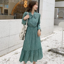 Dress Autumn of 2019 Apricot vest, one size only (without skirt), black skirt (without vest), green skirt (without vest) One size fits all, s, XL, 2XL, l, M Mid length dress other Long sleeves commute stand collar Elastic waist Dot Socket Pleated skirt bishop sleeve Others 18-24 years old Type A L04
