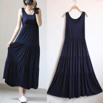 Dress Summer of 2018 Mid length dress singleton  Sleeveless commute Crew neck Loose waist Solid color Socket Cake skirt camisole 25-29 years old Type A Korean version 81% (inclusive) - 90% (inclusive) modal