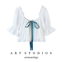 shirt Decor, white S,M,L Spring 2021 other 51% (inclusive) - 70% (inclusive) Short sleeve commute Short style (40cm < length ≤ 50cm) square neck Socket puff sleeve Solid color 18-24 years old Straight cylinder Korean version Stitching, bows