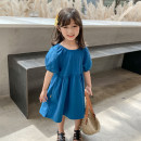 Dress blue female Class two 100cm (recommended height is about 100), 110cm (recommended height is 100-110), 120cm (recommended height is 110-120), 130cm (recommended height is 120-130), 140cm (recommended height is 130-140) Other 100% summer Korean version Short sleeve Solid color cotton other