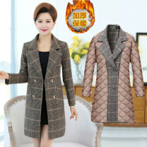 Middle aged and old women's wear Spring of 2019 Color 1 [without cotton], color 2 [without cotton], color 3 [without cotton], color 4 [without cotton], color 1 [with cotton], color 2 [with cotton], color 3 [with cotton], color 4 [with cotton] fashion woolen coat easy singleton  lattice Cardigan