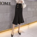 skirt Autumn 2020 S,M,L,XL Apricot, black Mid length dress Retro High waist skirt Solid color Type X 25-29 years old 71% (inclusive) - 80% (inclusive) other other Ruffles, zippers