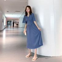 Women's large Summer 2021 Blue, red Large XL, large XXL, large XXL, large XXXXL, large L, M Dress singleton  Sweet Self cultivation thin Socket elbow sleeve V-neck Medium length 25-29 years old Button longuette