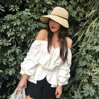 Women's large Summer 2020, spring 2020 White, black shirt singleton  commute easy moderate Socket three quarter sleeve Solid color Korean version One word collar routine Three dimensional cutting Baroque tailor 18-24 years old Three dimensional decoration