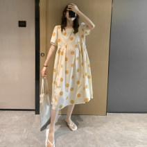 Dress Nuochu's favorite Yellow wave point_ Rong 2020, Hongbo point_ Rong 2020 M,L,XL,XXL Korean version Short sleeve have more cash than can be accounted for summer square neck Dot Pure cotton (95% and above)