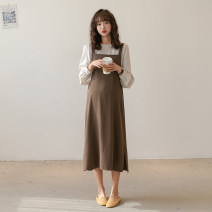 Dress Nuochu's favorite M,L,XL Korean version Long sleeves have more cash than can be accounted for spring Crew neck Solid color Chiffon