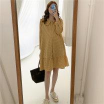 Dress Nuochu's favorite Average size Korean version Long sleeves Medium length spring Lapel lattice Cotton and hemp