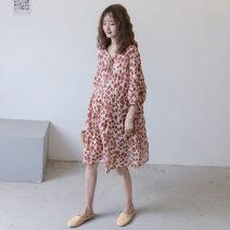 Dress Other / other Average size Korean version elbow sleeve Medium length spring Crew neck Dot Cotton and hemp