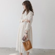 Dress Nuochu's favorite Average size Korean version Long sleeves have more cash than can be accounted for spring stand collar Solid color Lace