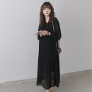 Dress Nuochu's favorite Black_ Pressure pleat system Average size Korean version Long sleeves have more cash than can be accounted for spring Crew neck Solid color Chiffon