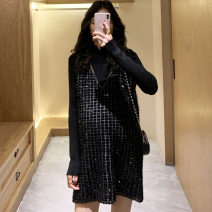 Dress Nuochu's favorite Grey blue_ Two piece set with gold border and check, black_ Two piece set with gold border and check, black_ Left two piece gold buckle, grey_ Two piece gold buckle on left side Average size Korean version Long sleeves Medium length autumn High collar lattice