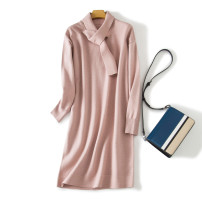 Dress Autumn of 2019 Blue, khaki, cherry pink M, L Mid length dress singleton  Long sleeves commute Half high collar middle-waisted Solid color Socket routine Type H Britain 51% (inclusive) - 70% (inclusive) knitting wool