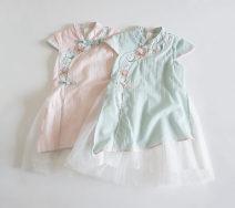 Dress female Other / other Other 100% Three, four, five, six MDD9822 Blue - cheongsam skirt, pink - cheongsam skirt 90cm,100cm,110cm,120cm,130cm