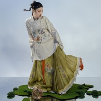 Hanfu 91% (inclusive) - 95% (inclusive) Beige round neck, short jacket, autumn green horse face skirt (need to wear a petticoat) S (delivery within three days from stock), m (delivery within three days from stock), l (delivery within three days from stock), XL (delivery within three days from stock)