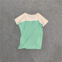 T-shirt Mosaic green Average size Autumn 2020 Short sleeve Crew neck easy Medium length routine other 31% (inclusive) - 50% (inclusive)