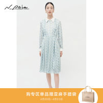 Dress Spring 2021 S M L XL Mid length dress singleton  Long sleeves commute Elastic waist Broken flowers A button Pleated skirt shirt sleeve Others 30-34 years old Type X N. PAIA / enpaya Korean version More than 95% polyester fiber Polyester 100% Same model in shopping mall (sold online and offline)