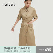 Dress Spring 2021 Camel color, please don't beat 155/80A 160/84A 165/88A 170/92A Middle-skirt singleton  Short sleeve commute other Single breasted other routine 25-29 years old Type X Naivie literature Button 213P62345-95 31% (inclusive) - 50% (inclusive) cotton Pure e-commerce (online only)