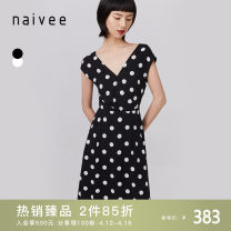 Dress Summer 2020 black 155/80A/S 160/84A/M 165/88A/L 170/92A/XL longuette Two piece set Short sleeve commute V-neck High waist Dot Socket A-line skirt Wrap sleeves 25-29 years old Type X Naivie Ol style printing 206P67814-81 More than 95% other Viscose (viscose) 100% Pure e-commerce (online only)