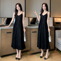 Dress Spring 2021 Black, green M,L,XL,2XL,3XL,4XL,5XL Mid length dress singleton  Elastic waist Solid color Velvet dress with suspenders 81% (inclusive) - 90% (inclusive) other