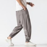 Casual pants Others Youth fashion M,L,XL,2XL,3XL,4XL,5XL routine Ninth pants Other leisure easy No bullet 8027MS summer Large size Chinese style 2021 Medium low back Little feet Haren pants Embroidery washing Solid color cotton